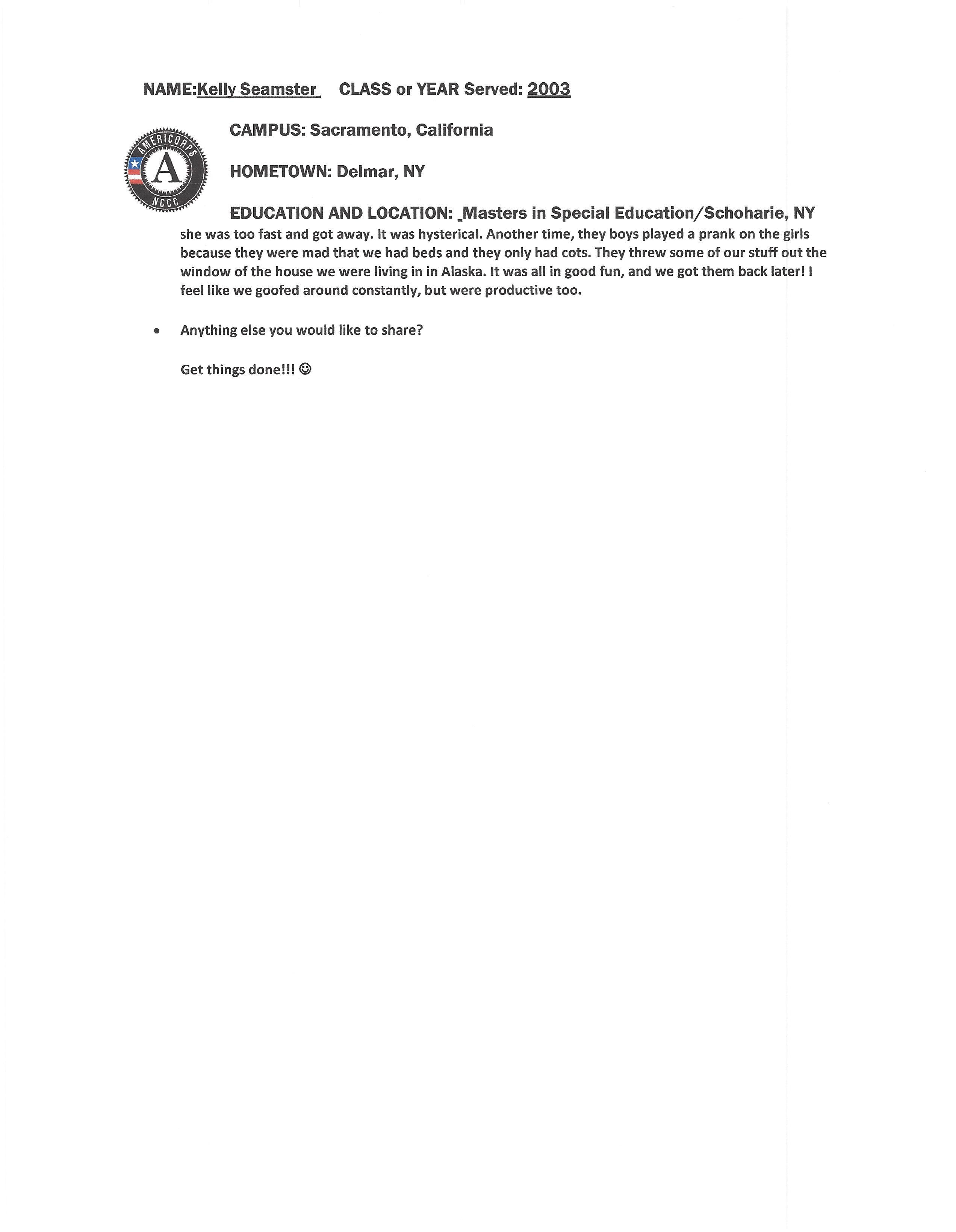 NCCC Alumni Spotlight Kelly Seamster 2